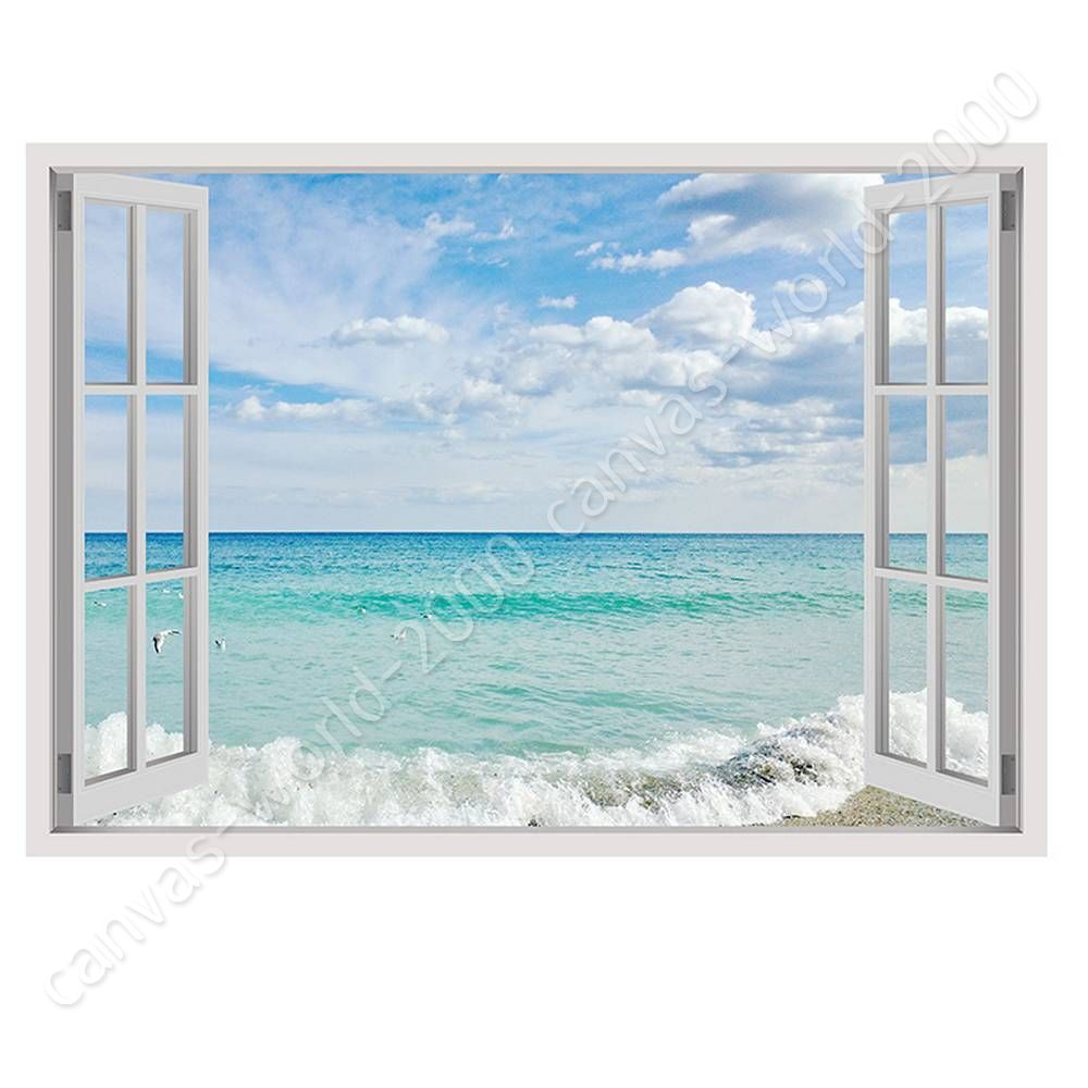 Cloud Window Curtains 3d Printing Nautical Home Decor: READY TO HANG CANVAS Sea And Sky Fake 3D Window For