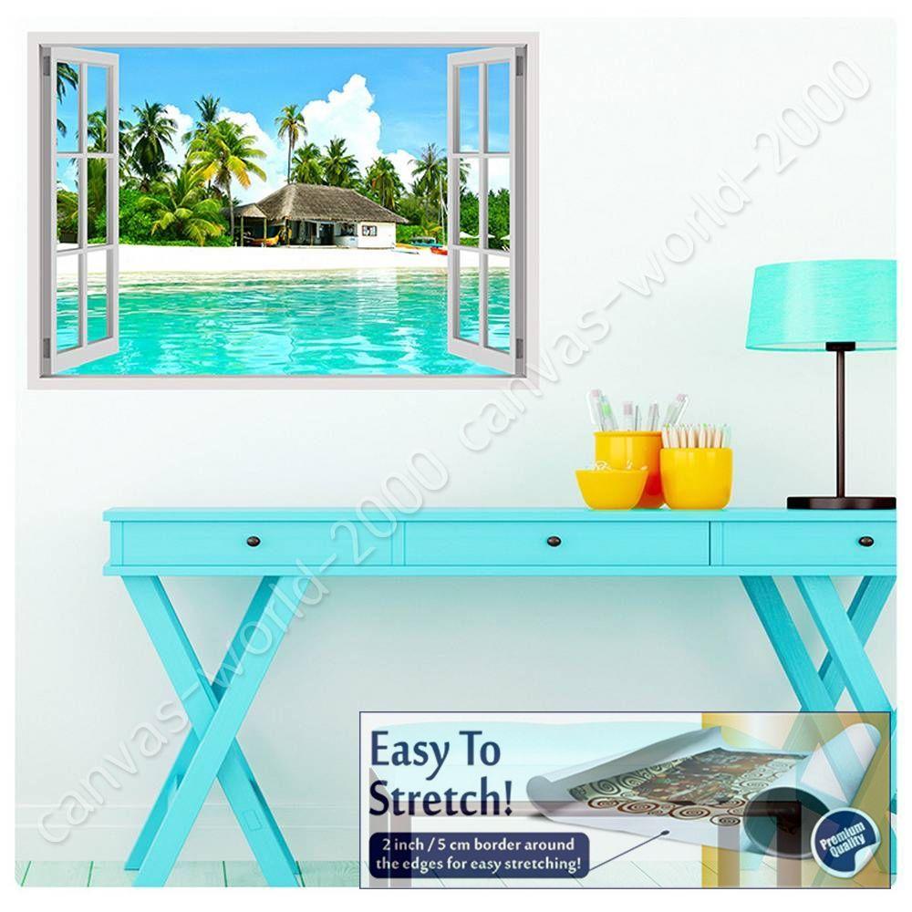 House On The Beach by Fake 3D WindowCanvas Rolled Wall art artwork HD