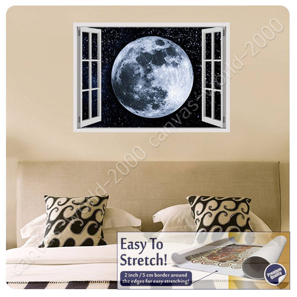 CANVAS-GIFT-The-Moon-In-Space-Fake-3D-