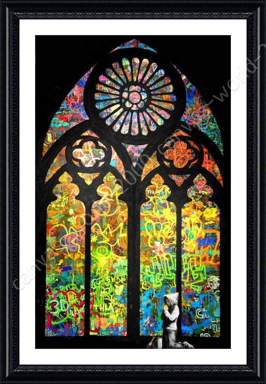 Alonline art framed poster stained glass window church for Art glass windows