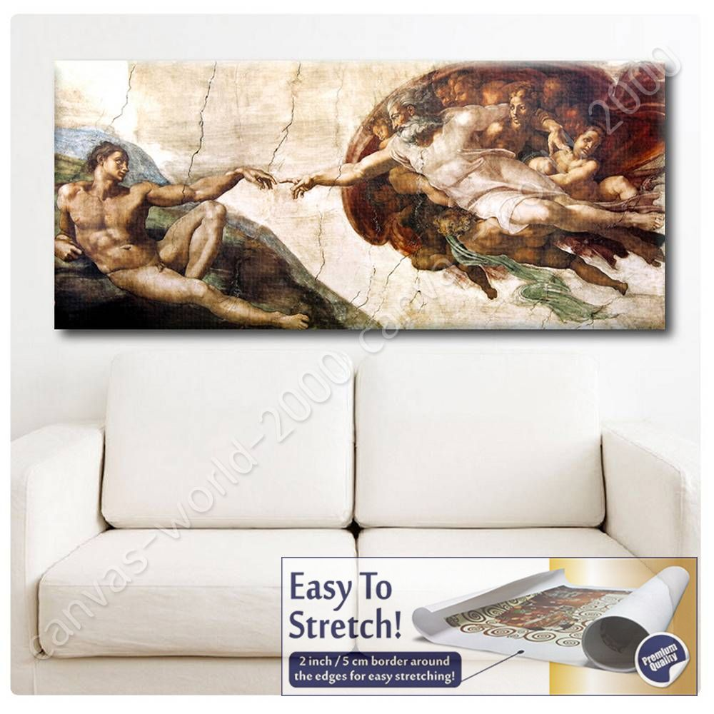 Canvas gift the creation of adam michelangelo wall art for Creation of adam mural