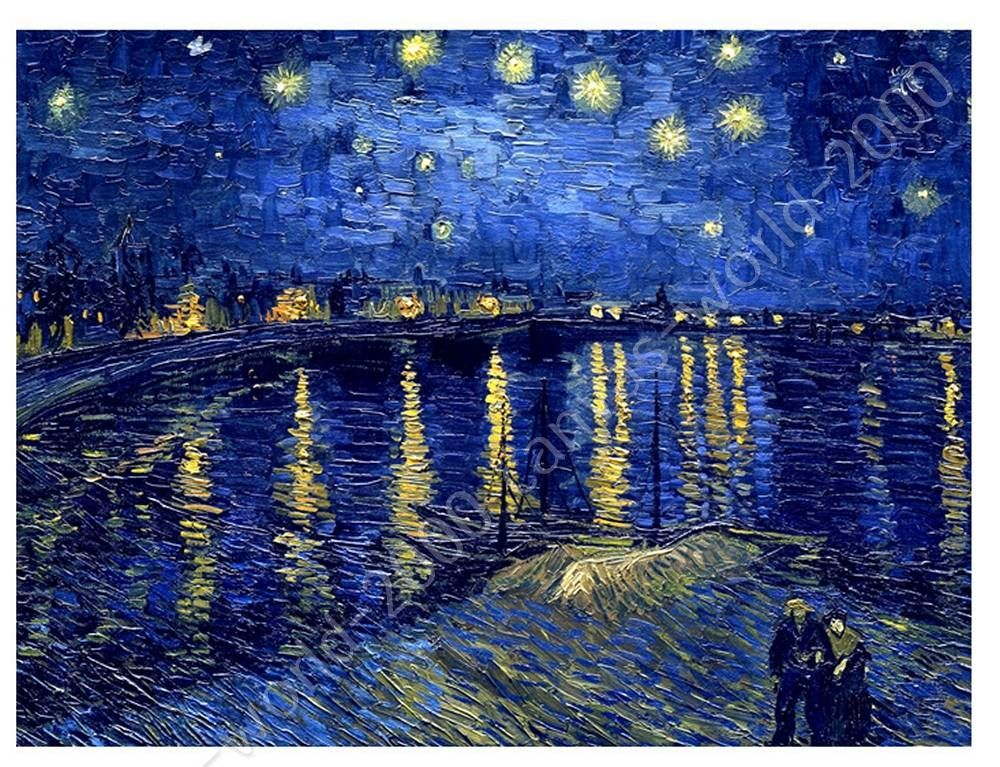 Canvas gift starry night over the rhone vincent van gogh for Mural van gogh