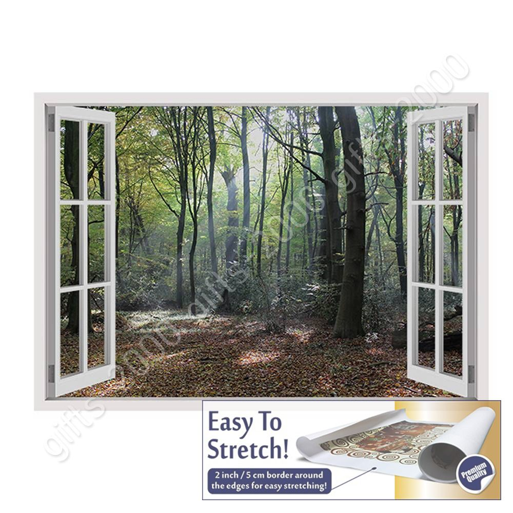 Trees In The Woods by Fake 3D WindowCanvas Wall art oil painting Rolled