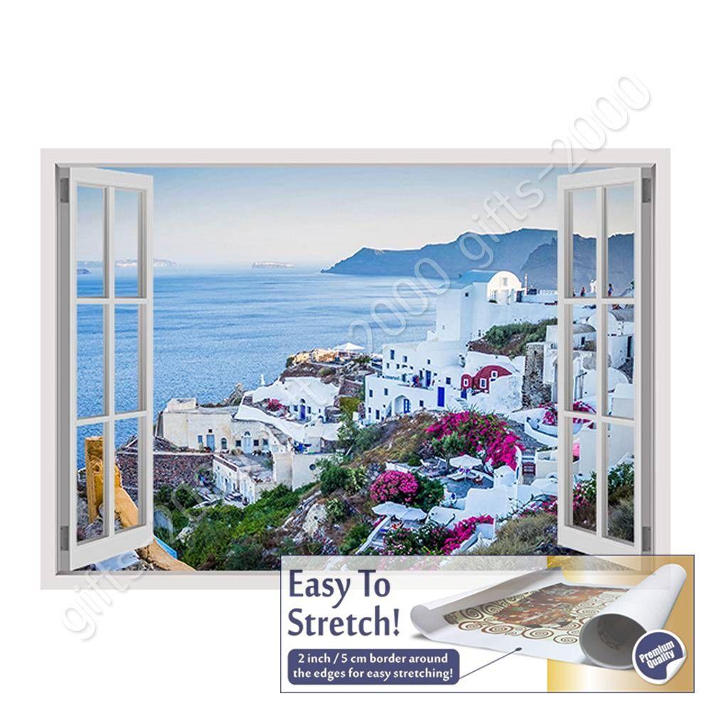 Rolled Wall art artwork Santorini Greece Sunset by Fake 3D WindowCanvas