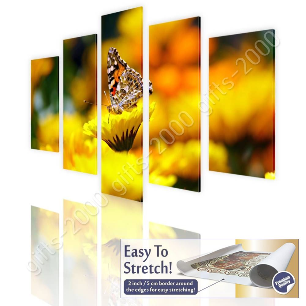 CANVAS (Rolled) Butterfly On A Flower Split 5 Panels 5 Panels Wall Decor