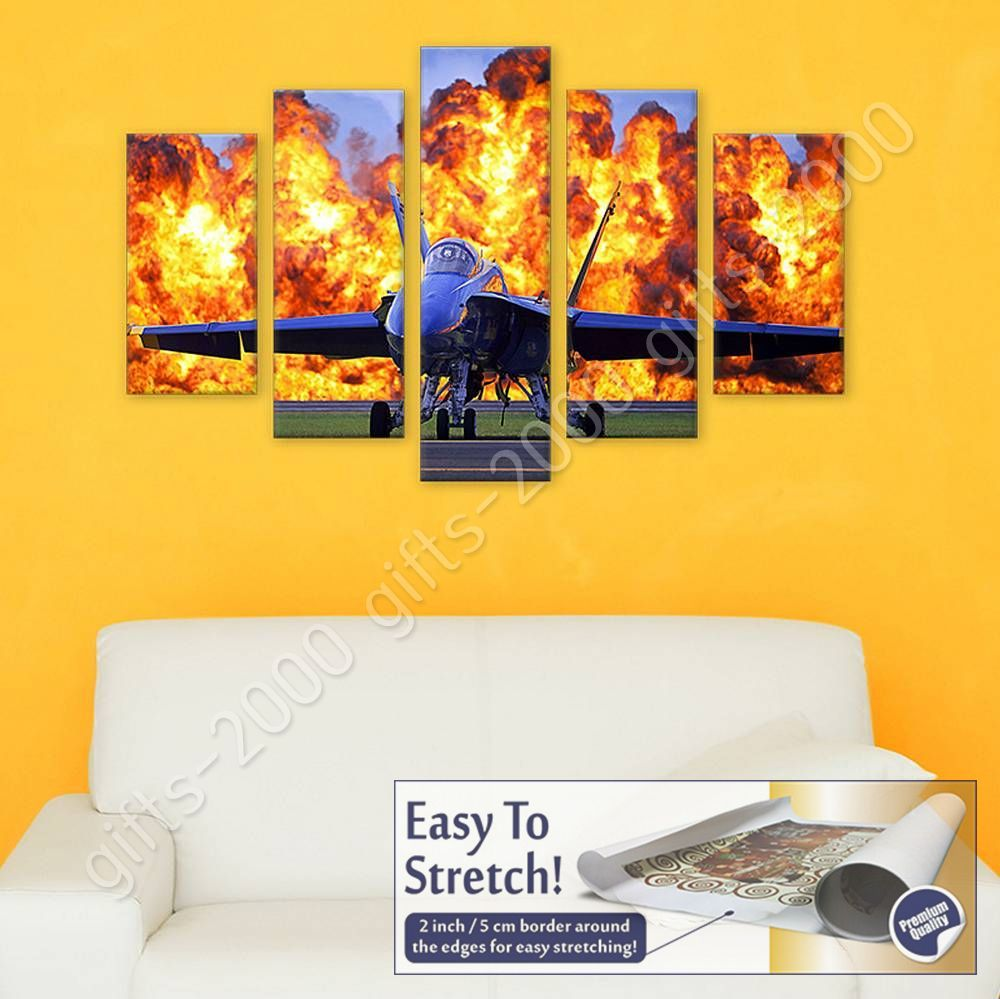 CANVAS (Rolled) Military Air Show Split 5 Panels 5 Panels Wall Decor Art