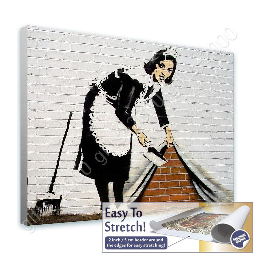 Rolled Wall art artwork picture HD giclee Cleaning Lady by BanksyCanvas