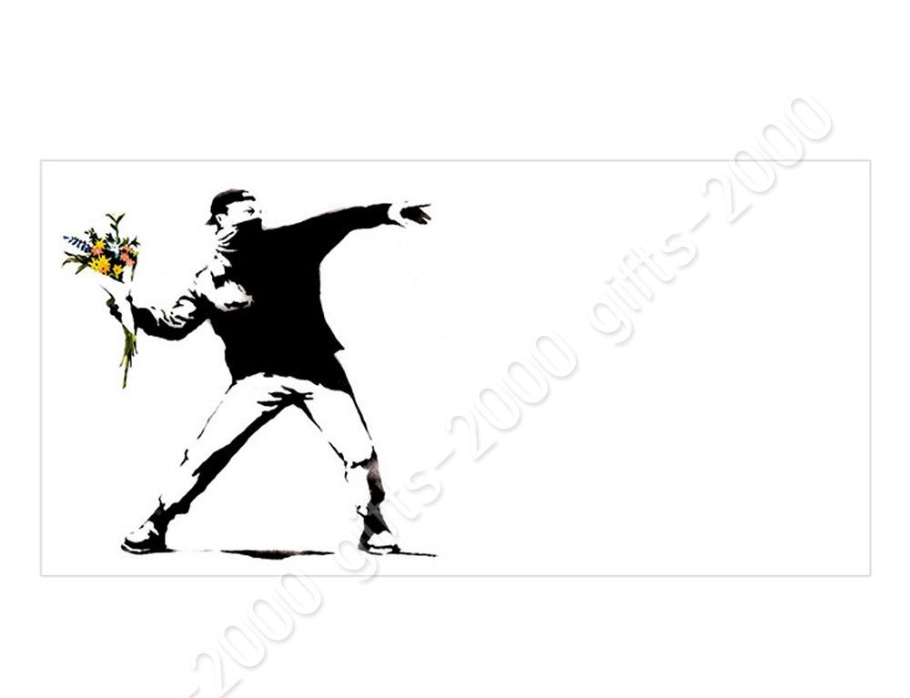 Rolled Flower Thrower by BanksyCanvas Wall art HD artwork picture