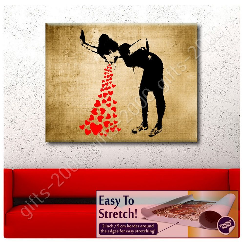 Synthetic canvas gift girl lovesick banksy paints posters for Banksy mural painted over