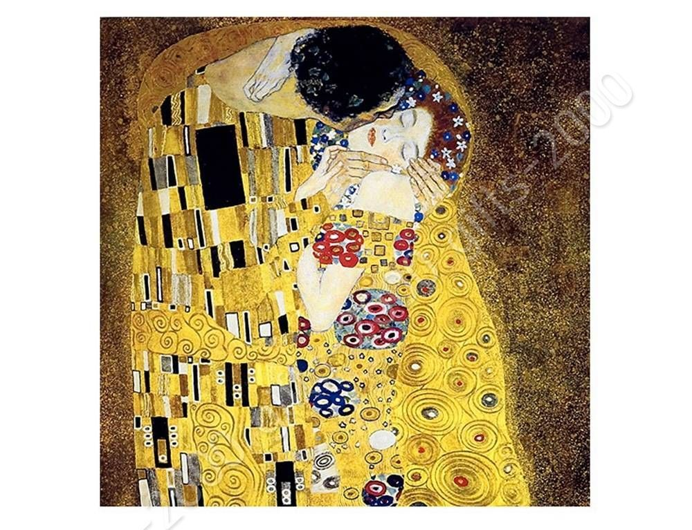 Synthetic canvas gift the kiss gustav klimt wall art wall for Gustav klimt original paintings for sale