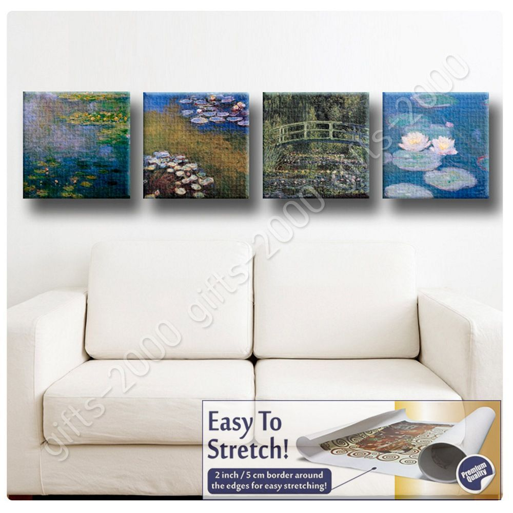 Wall Decor Gifts : Synthetic canvas gift water lilies claude monet set of