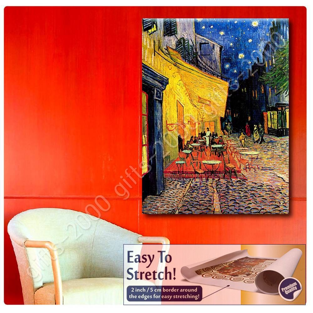 Rolled Cafe Terrace by Vincent Van GoghCanvas Wall art oil painting HD