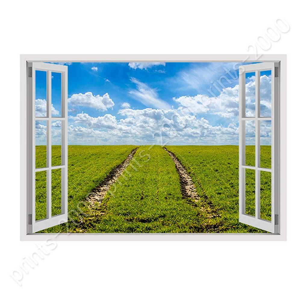 Green Grass Farming by Fake 3D WindowPoster or Wall Sticker DecalWall art