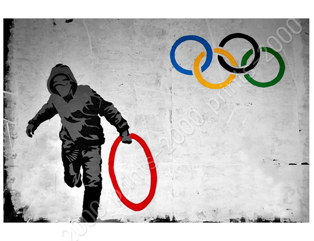 Olympic Rings London by BanksyPoster or Wall Sticker DecalWall art HD