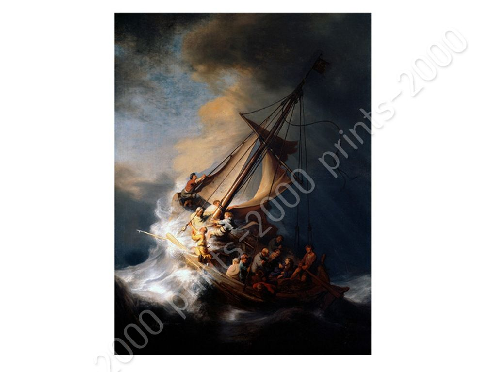 Christ In The Storm Sea Of Galilee by RembrandtPoster or Wall Sticker Decal