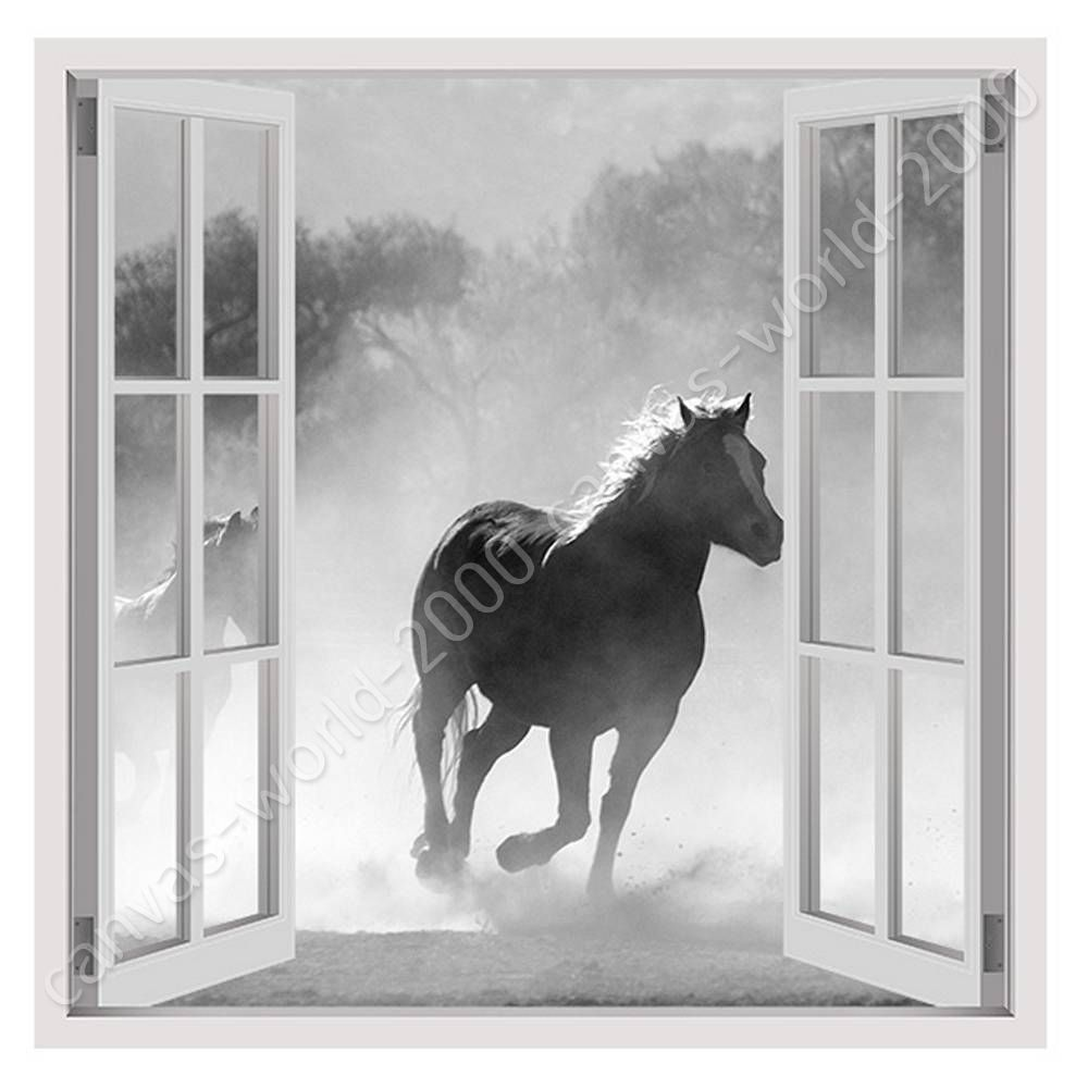 READY TO HANG CANVAS Wild Horse Running Fake 3D Window Framed Print ...