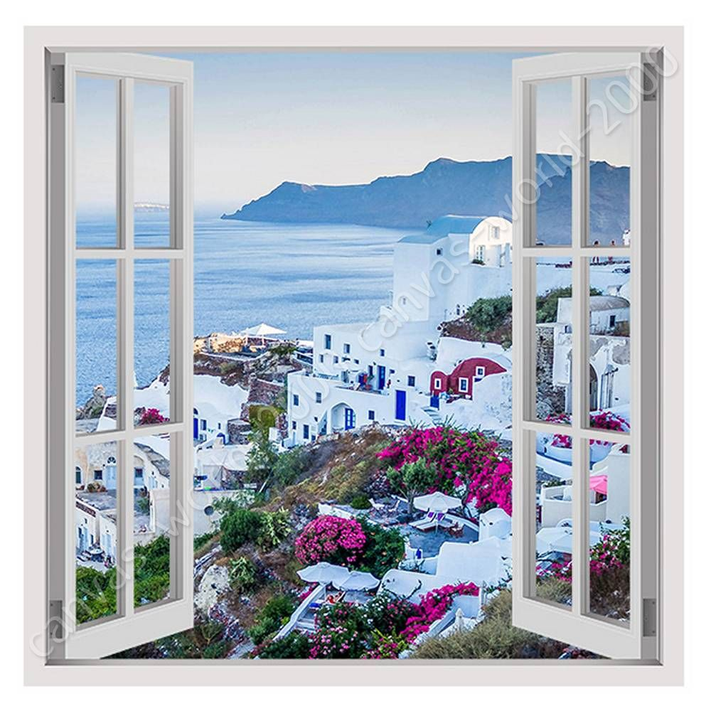 Details About Santorini Greece Sunset By Fake 3d Window Ready To Hang Canvas Wall Art