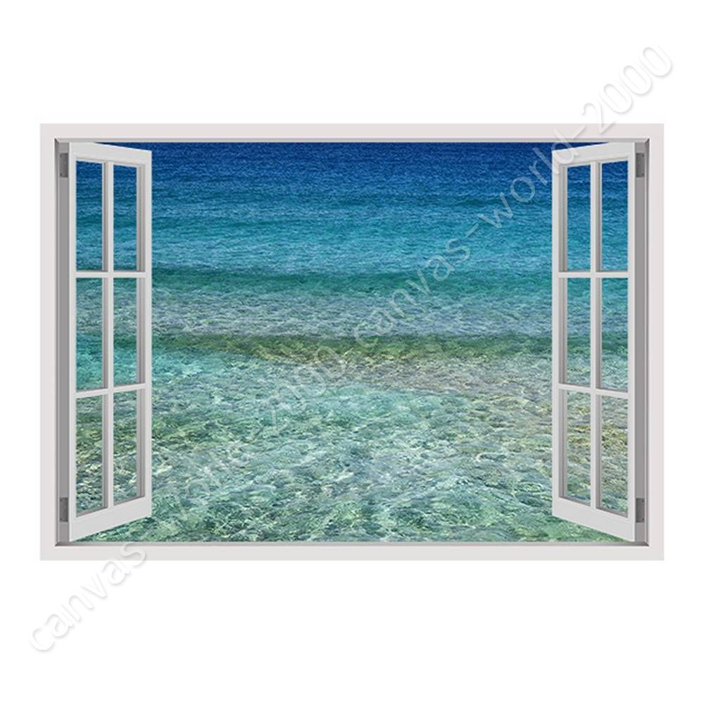 Aqua by Fake 3D Window | Ready to hang canvas | Study Art Bedroom ...