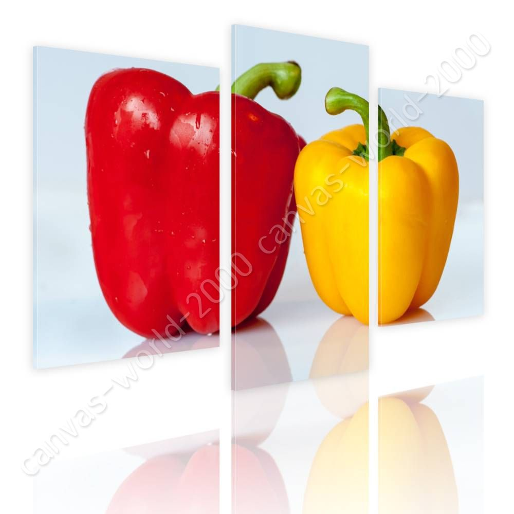 Fresh Vegetables Pepper by Split 3 Panels   Canvas (Rolled)   3 Panels Wall art