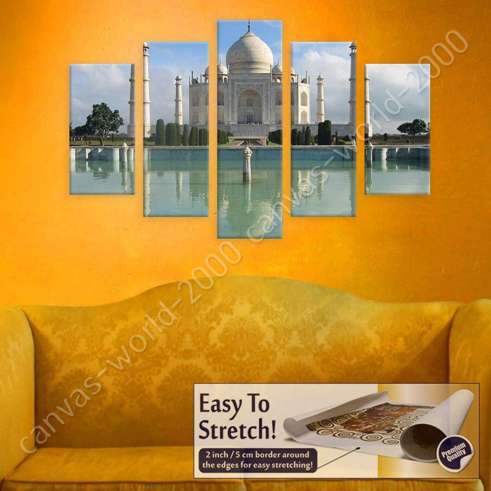 Taj Mahal Temple by Split 5 Panels | Canvas (Rolled) | 5 Panels Wall ...