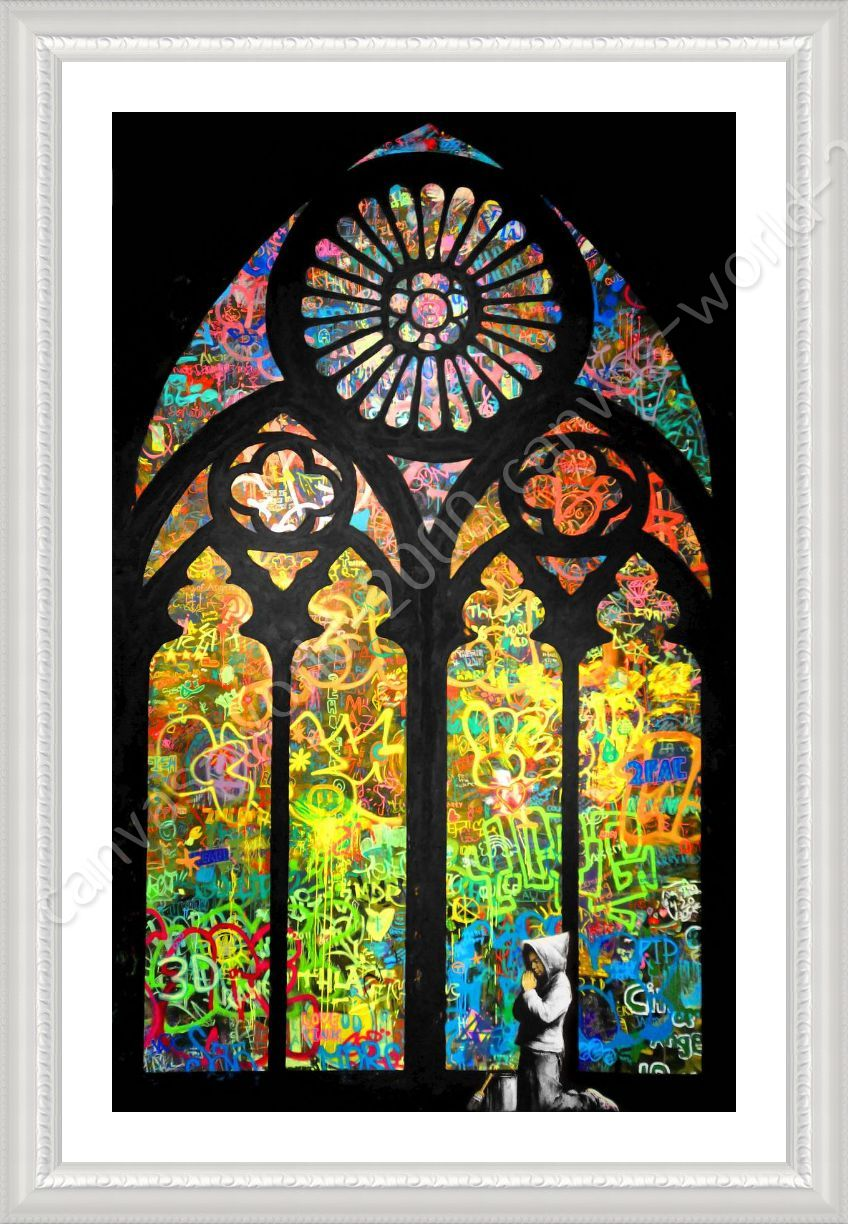 Framed poster stained glass window church cathedral banksy wall framed poster stained glass window church cathedral banksy wall art pictures jeuxipadfo Choice Image