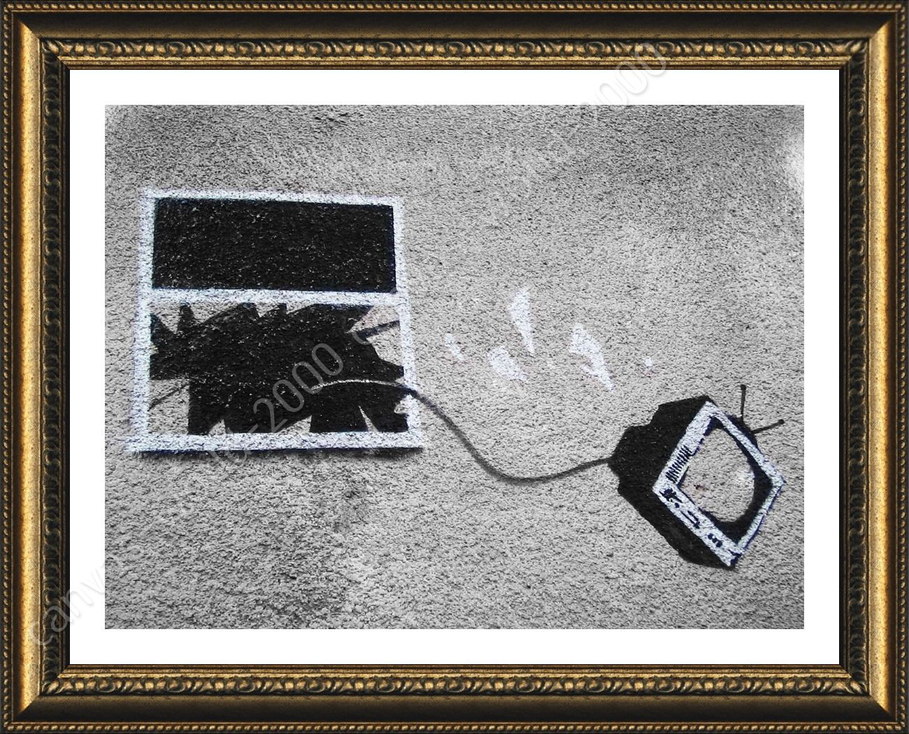 Póster enmarcado TV a través de Ventana Banksy Pared Arte fotos para ...