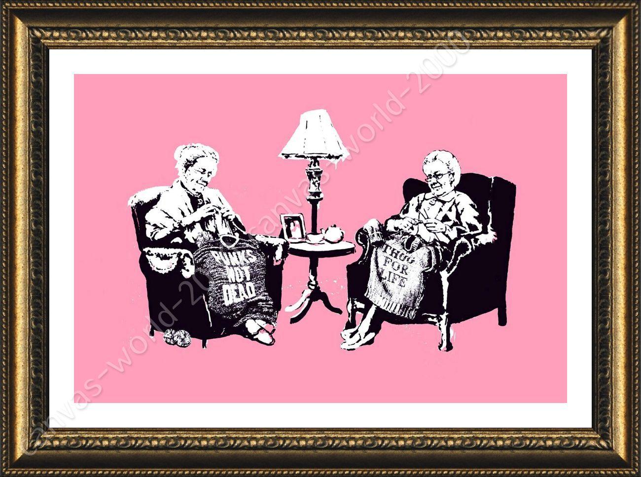 FRAMED Poster Old Women Knitting Banksy For Living Room Framed ...