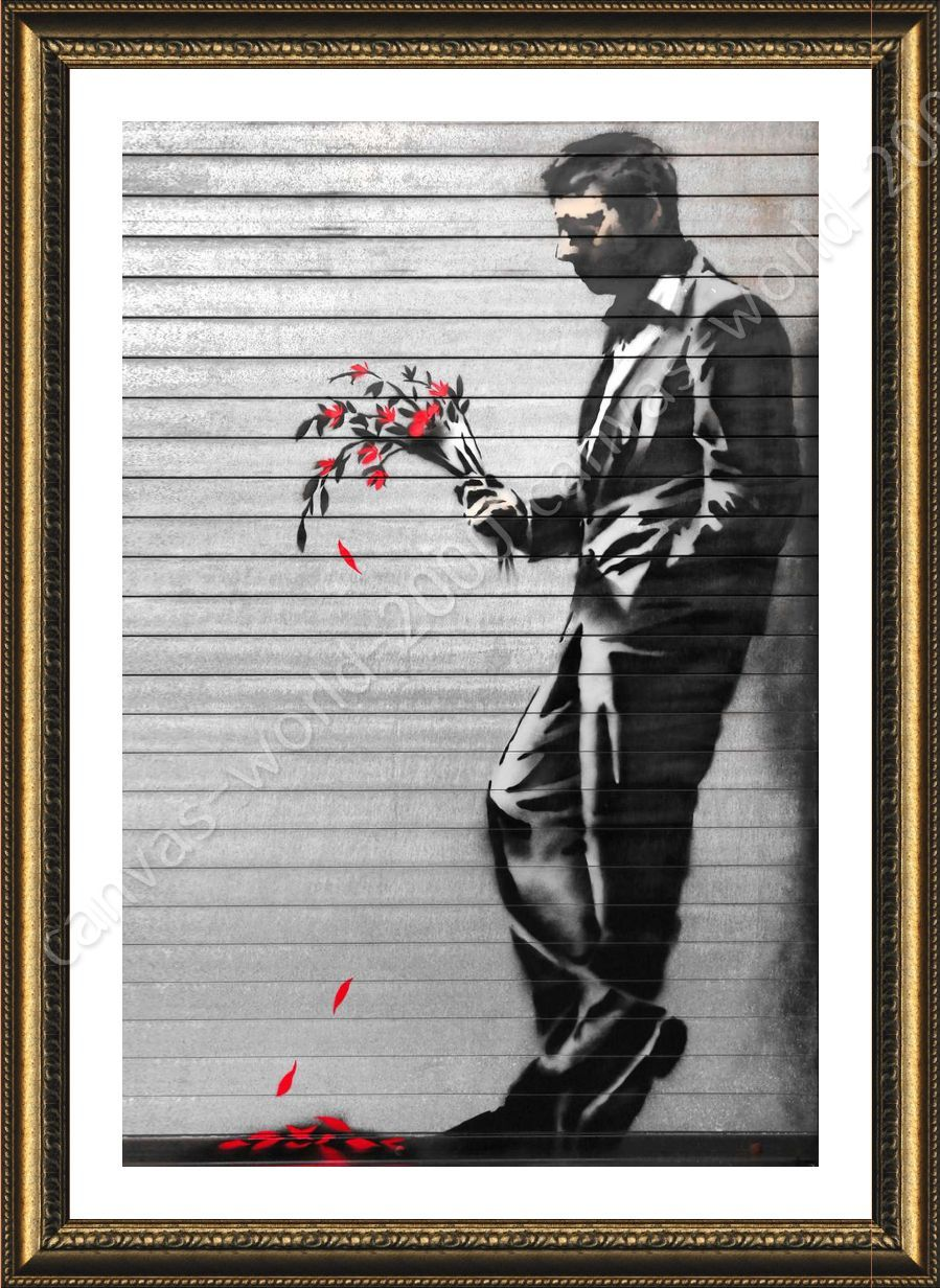 WAITING IN VAIN PAINT BY BANKSY PRINT ON FRAMED CANVAS PICTURE WALL ART DECOR