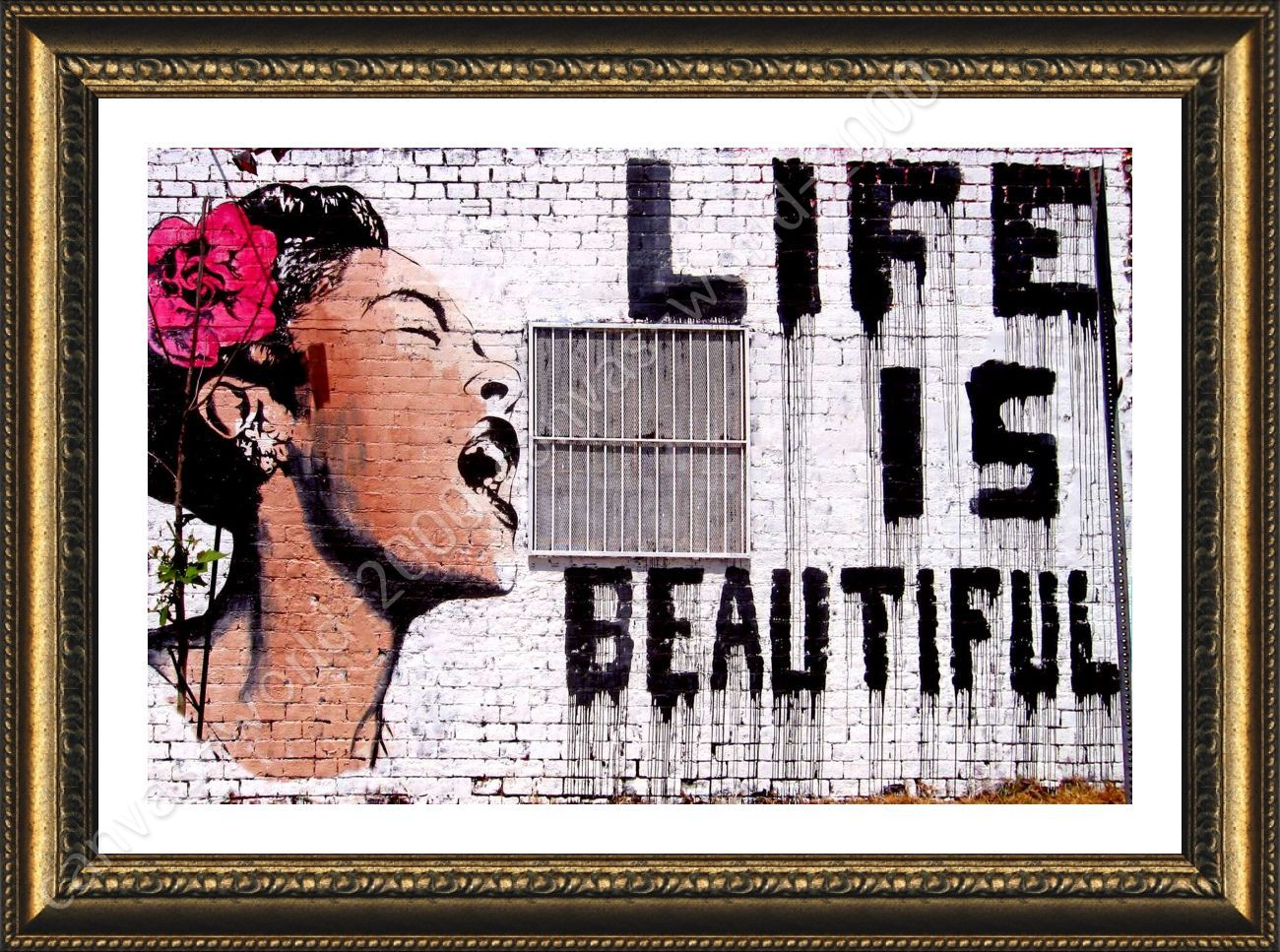 Life Is Beautiful By Banksy Framed Canvas Wall Art Hd Paint Painting Print