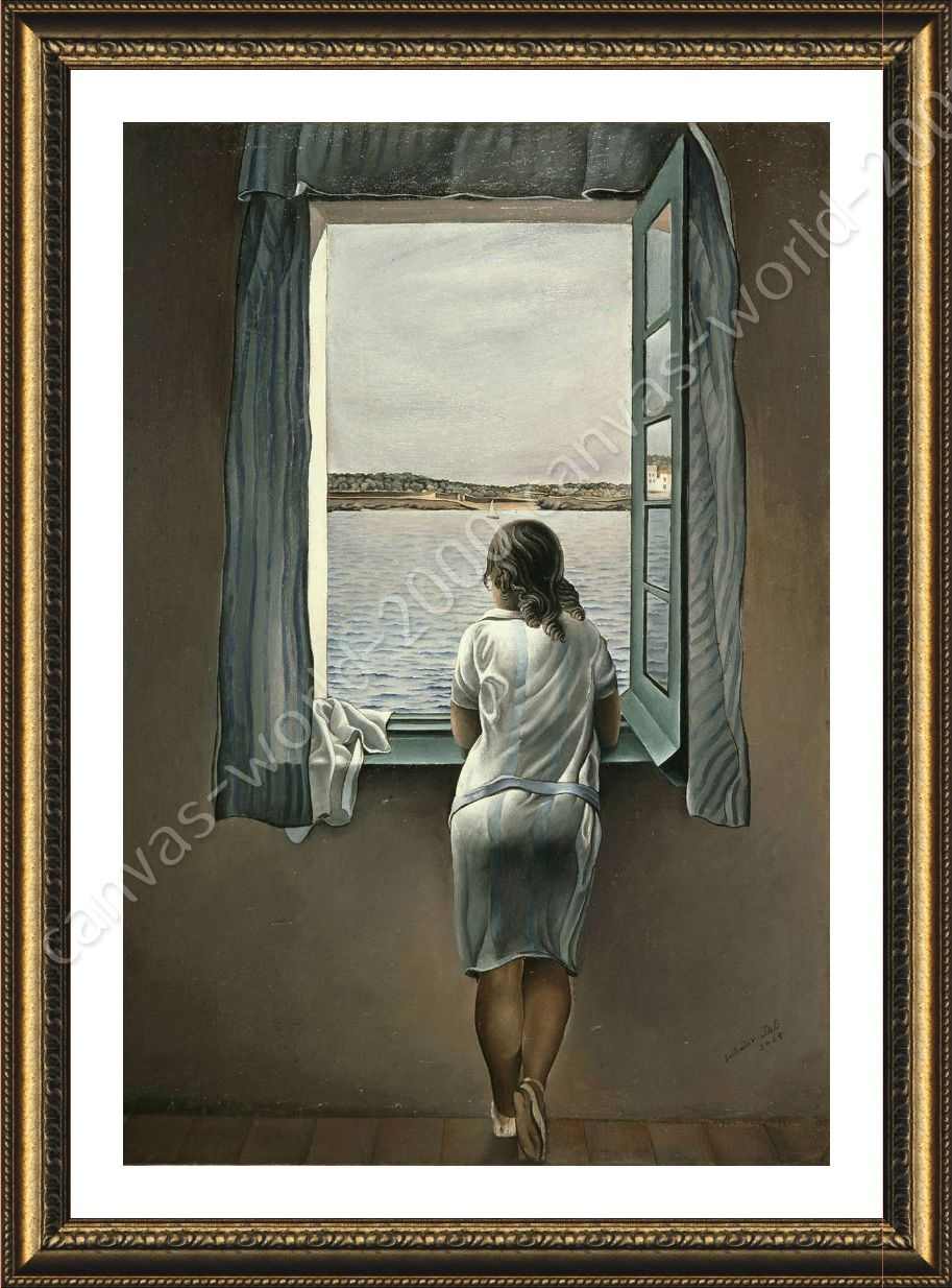 FRAMED Poster Woman At The Window Salvador Dali For Living Room ...