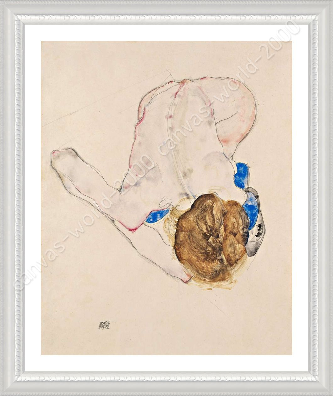 Woman With Blue Stockings by Egon Schiele | Framed canvas | Wall art ...