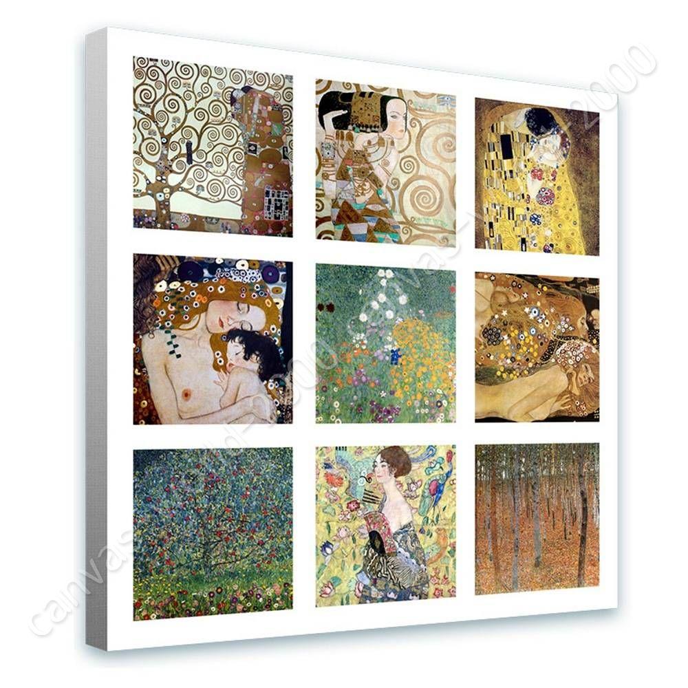 READY TO HANG CANVAS Kiss Lady Fan Trees Collage 9 Gustav Klimt ...