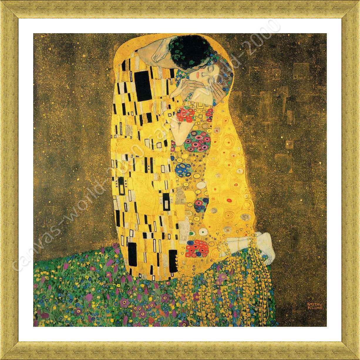 FRAMED Poster The Kiss Gustav Klimt Framed Canvas Framed Wall Decor ...