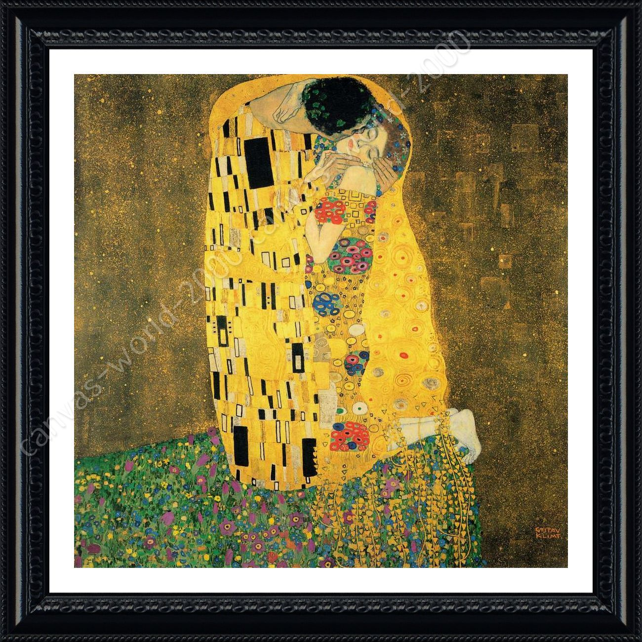 The Kiss by Gustav Klimt | Framed canvas | For Living Room Wall Art ...