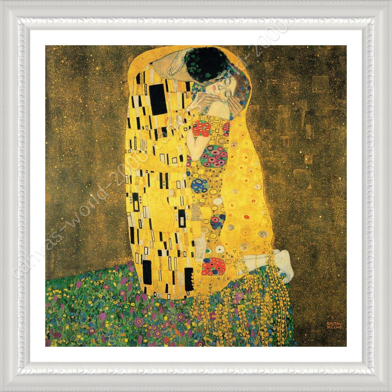 FRAMED Poster The Kiss Gustav Klimt Framed Canvas Framed Wall Decor ...