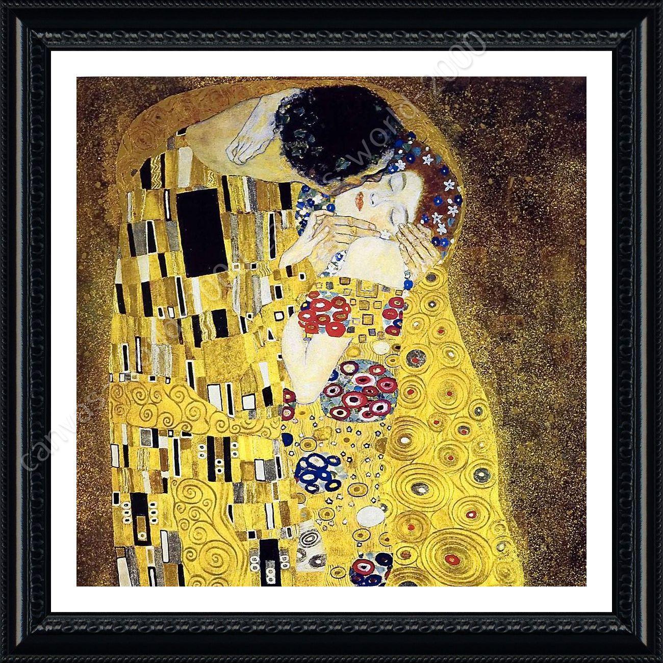 FRAMED Poster The Kiss Gustav Klimt Wall Art Pictures Framed Wall ...
