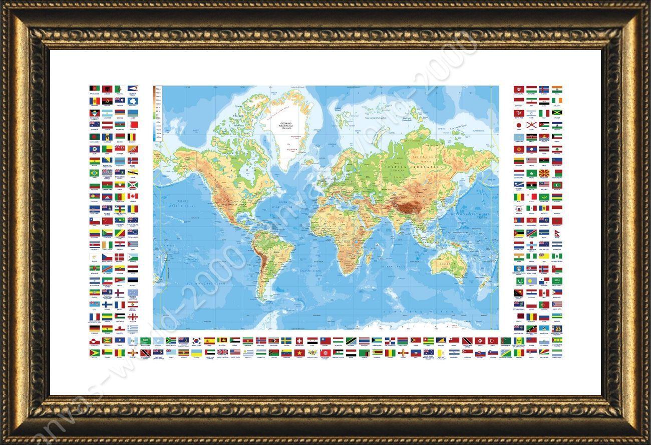 Framed poster physical modern flags world map frame framed paintings framed poster physical modern flags world map frame gumiabroncs Image collections