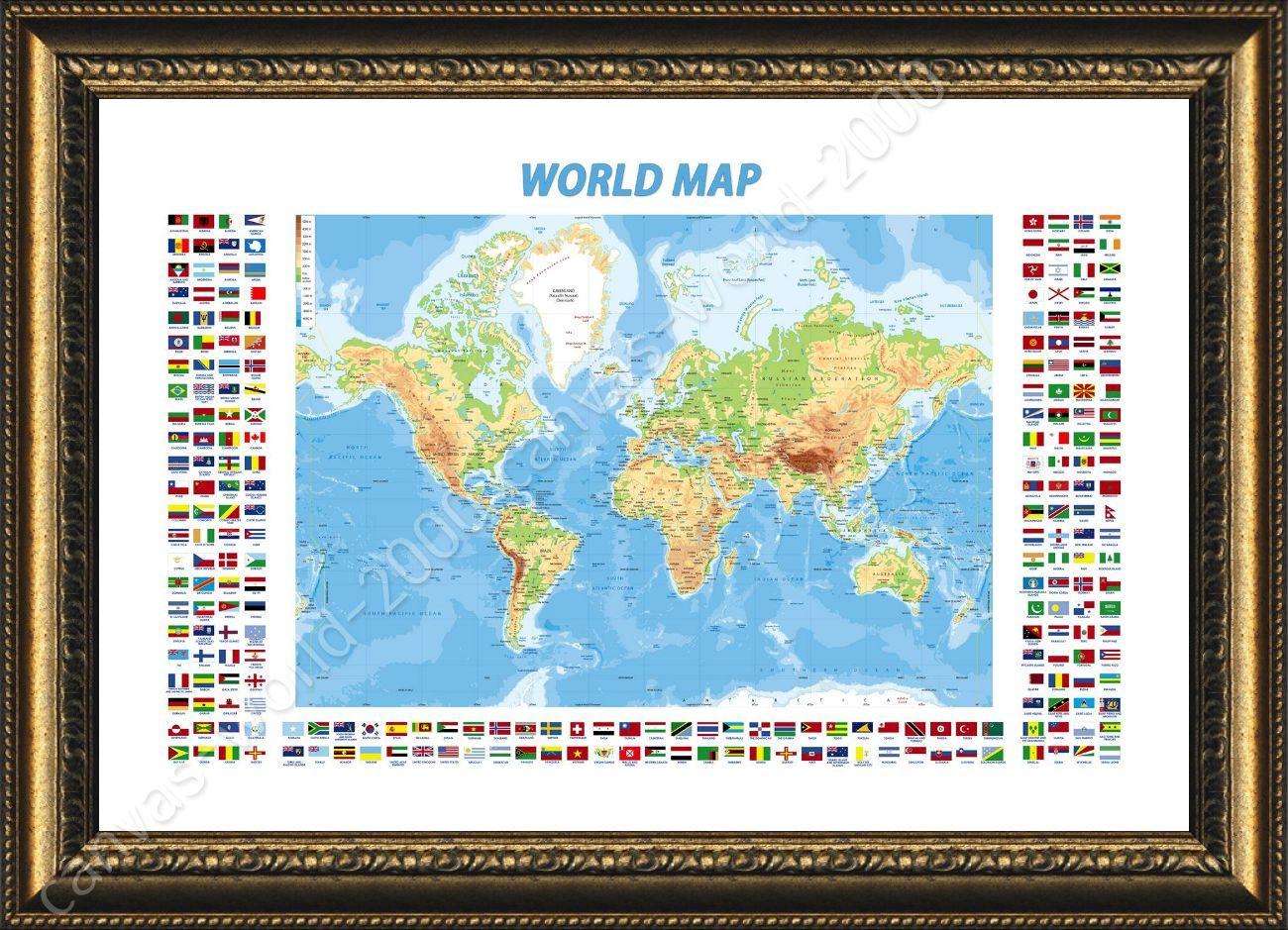 Pster enmarcado fsica moderna banderas mapa del mundo enmarcado framed poster physical modern flags world map framed paintings framed print gumiabroncs Gallery