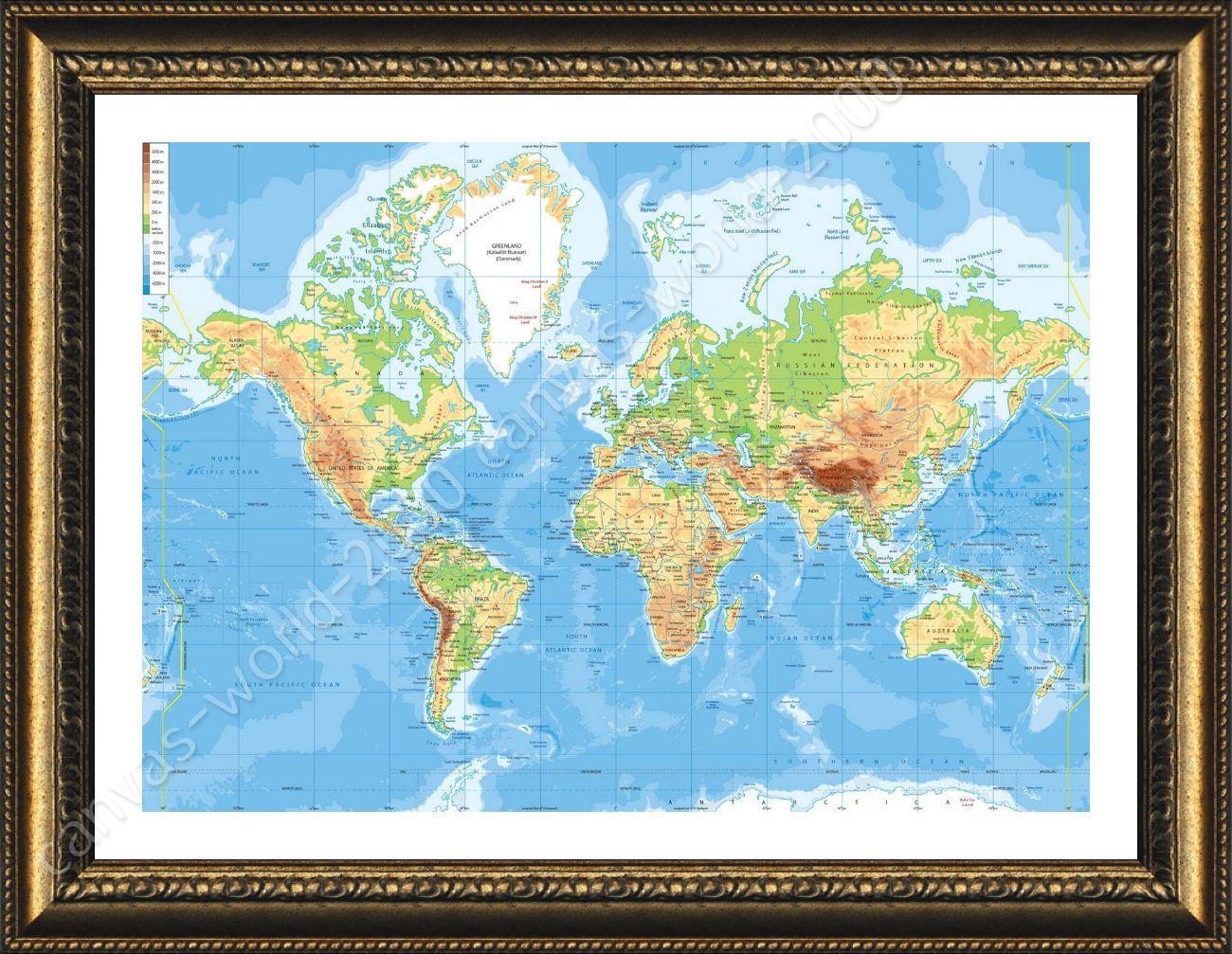 Framed poster physical modern world map framed decor for bedroom framed poster physical modern world map framed decor gumiabroncs Images