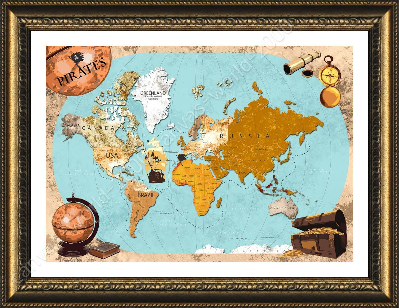 Pirate World Map.Pirates Old Vintage Maps By World Map Framed Canvas Wall Art