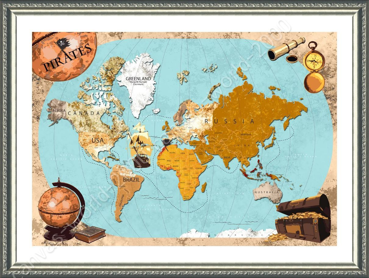 Framed poster pirates old vintage world map wall art pictures framed framed poster pirates old vintage world map wall gumiabroncs Gallery