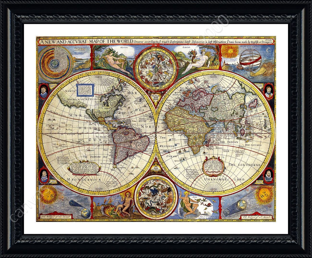 antique old vintage v1 by world map framed canvas wall art giclee poster ebay. Black Bedroom Furniture Sets. Home Design Ideas