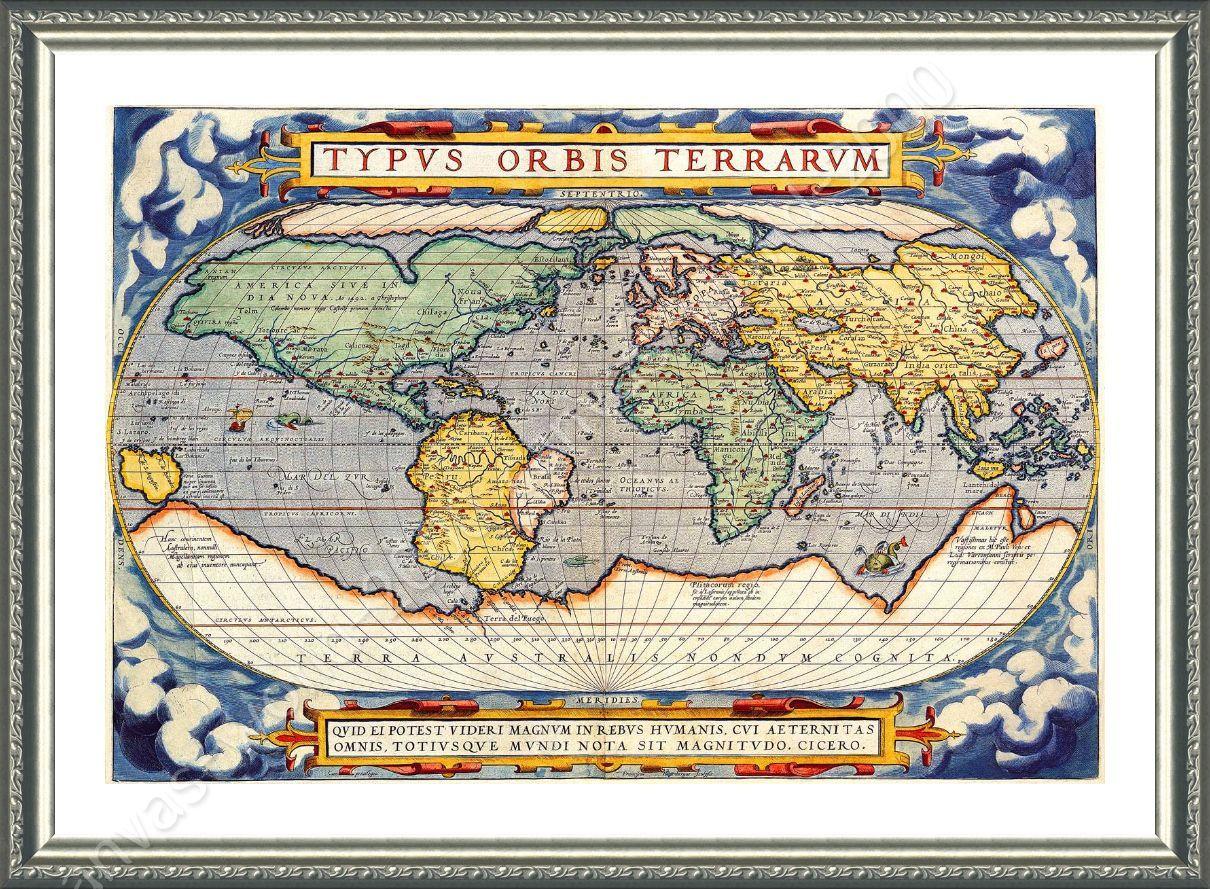 Antique Old Vintage V3 by World Map | Framed canvas | Living Room ...
