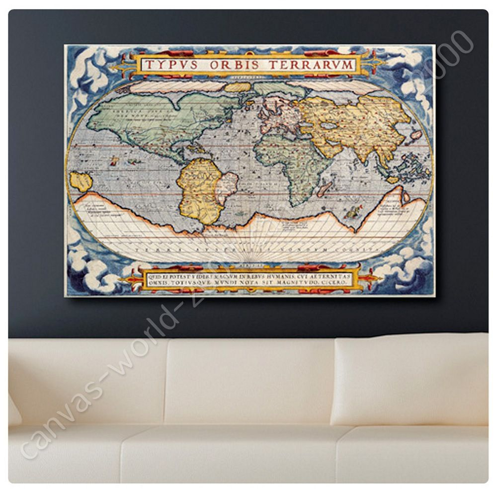 ready to hang canvas antique old vintage v3 world map framed paints framed art - World Map Framed Art
