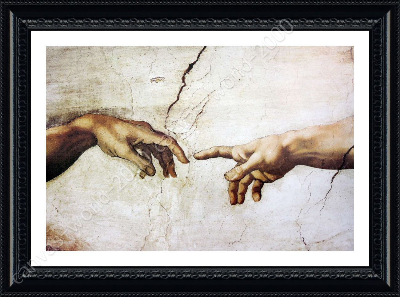 The Creation Of Man by Michelangelo   Framed canvas   Wall art ...