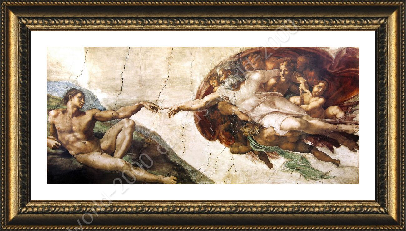 Canvas Prints Wall Painting Famous Art Oil Painting Creation of Adam!God/'s Hand