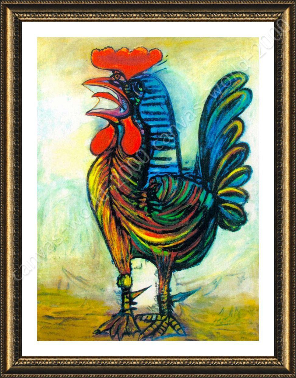 Póster enmarcado el gallo Pablo Picasso Giclee Enmarcado Posters ...