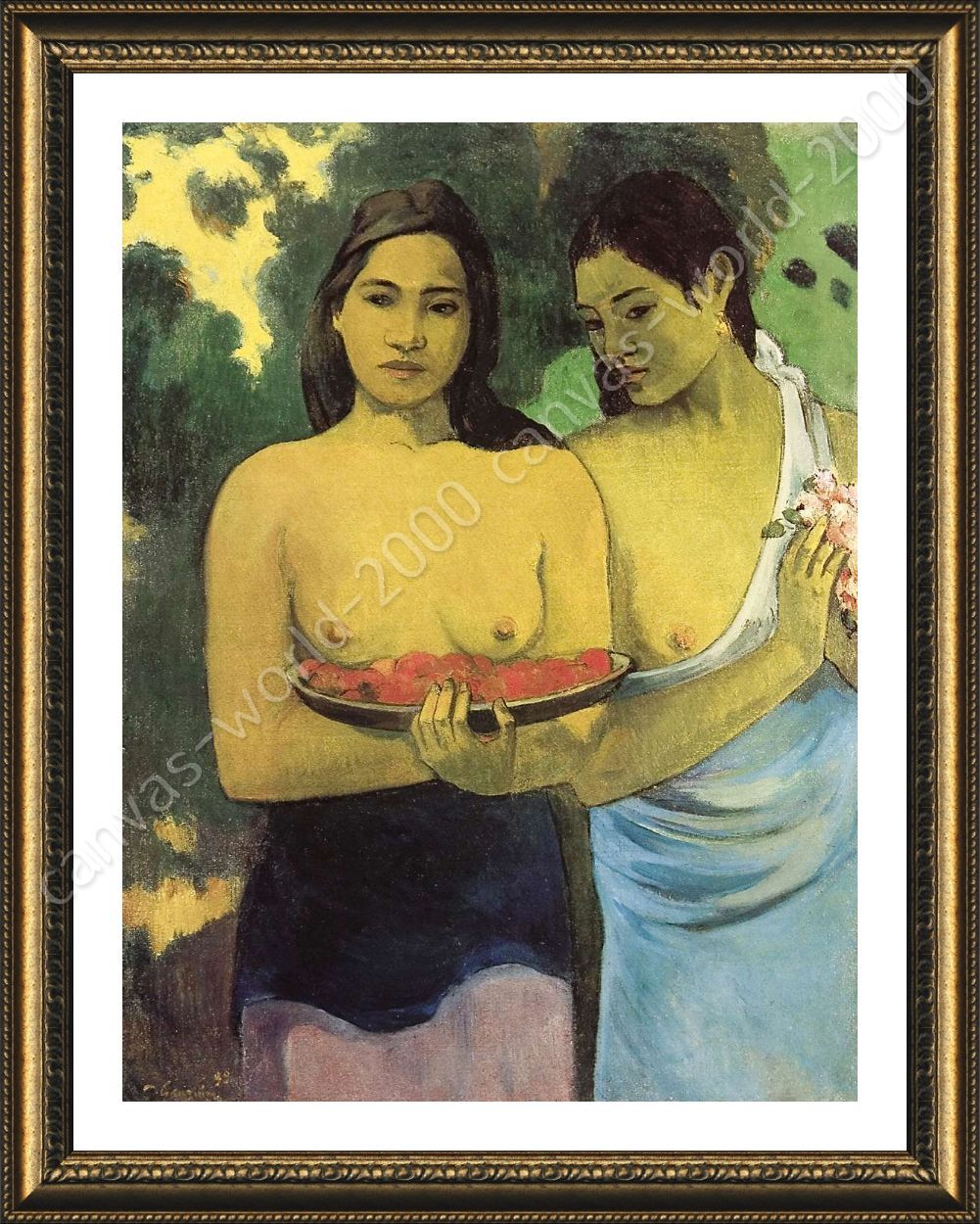 FRAMED Poster Two Tahitian Women Paul Gauguin Framed Wall Decor ...