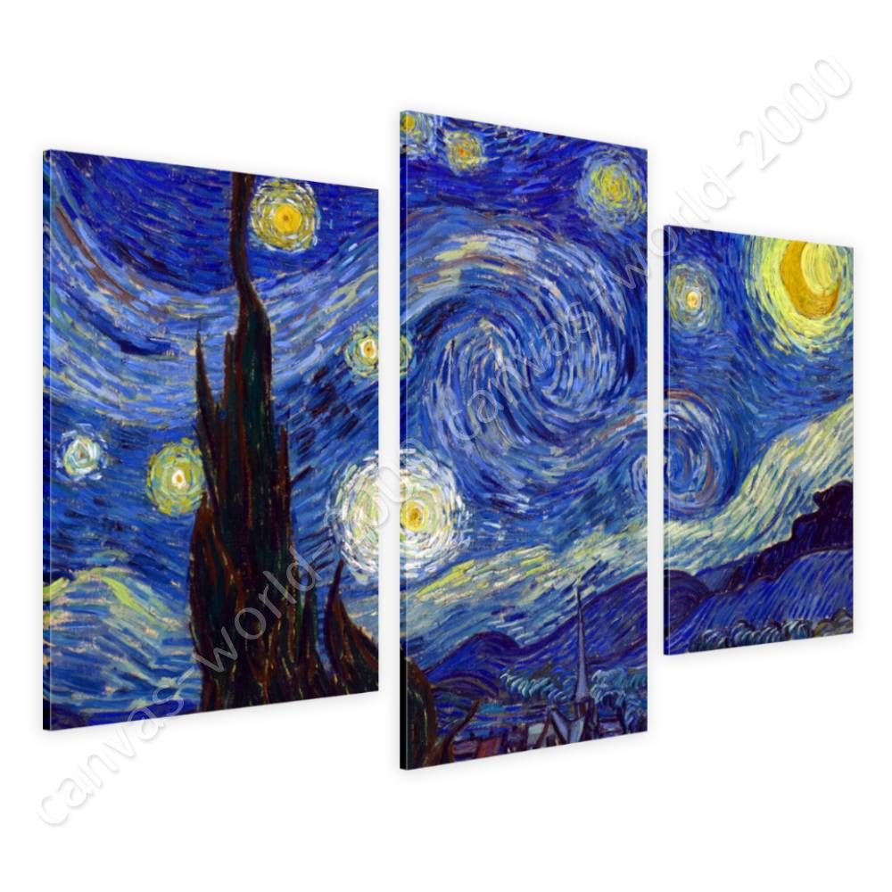 Starry Night by Vincent Van Gogh   Canvas (Rolled)   3 Panels Wall art artwork