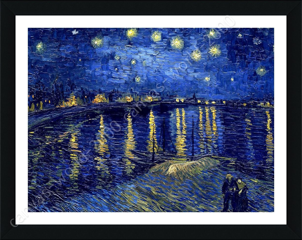 Framed poster starry night over the rhone vincent van gogh for Where can i sell paintings online